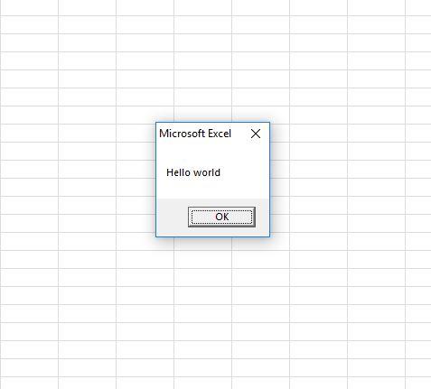 learn excel vba - Fig4 Hello World