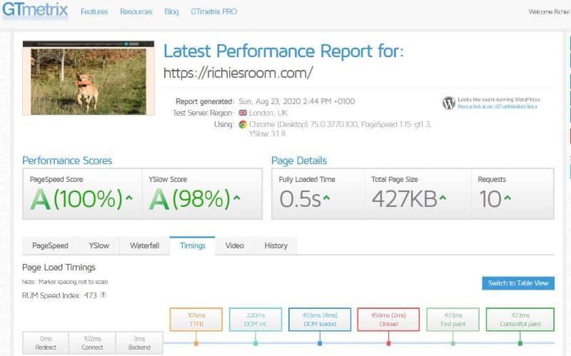 Blogging for fun not profit - GTMetrix load-time