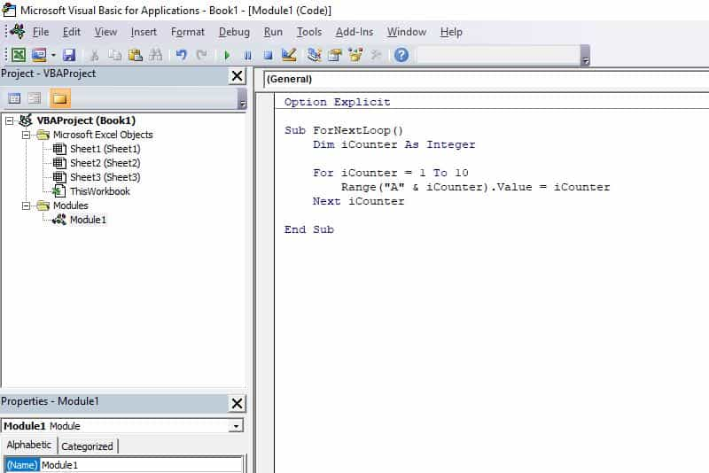 Excel VBA programming concepts - For Next