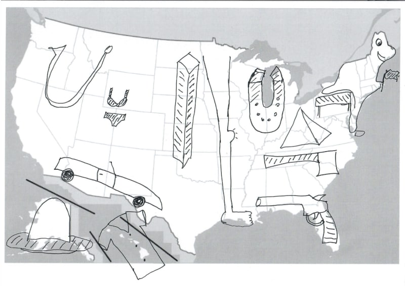 quickly learn 50 us states and capitals - us map drawn images