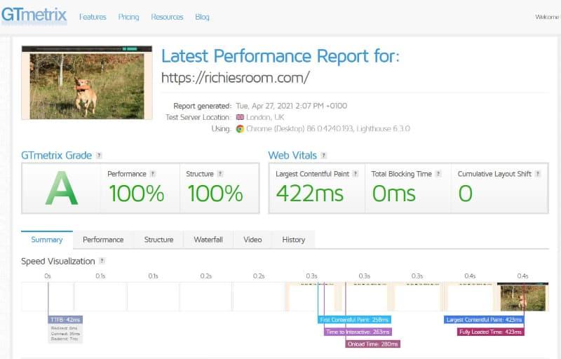Blogging for fun not profit - GTMetrix updated load-time